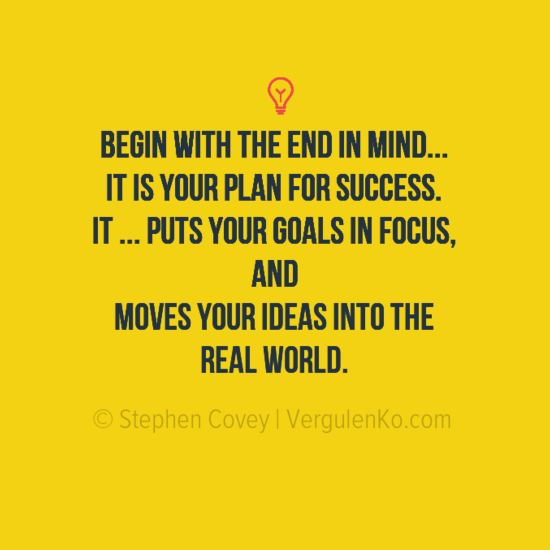 Your plan for success - Motivational quote from Stephen Covey